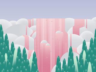 Panel Szklany Do pokoju dziewczyny Landscape of waterfall behind the forest