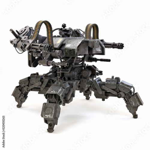 Photo Futuristic heavily armored quad legged land drone military assault weapon concept capable of traversing uneven terrain and delivering tremendous firepower
