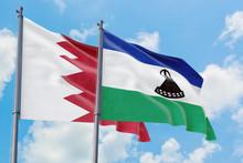 Lesotho And Bahrain Flags Wavi...