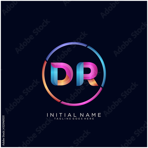 Initial letter DR curve rounded logo, gradient vibrant colorful glossy colors on Wallpaper Mural