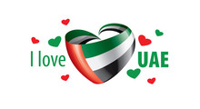 National Flag Of The United Arab Emirates In The Shape Of A Heart And The Inscription I Love UAE. Vector Illustration