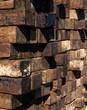 wall of wood railroad ties