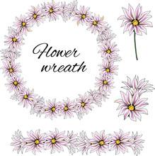 Spring Pink Flowers, Set Of Af...