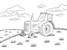 Tractor On The Field Graphic Black White Landscape Sketch Illustration Vector