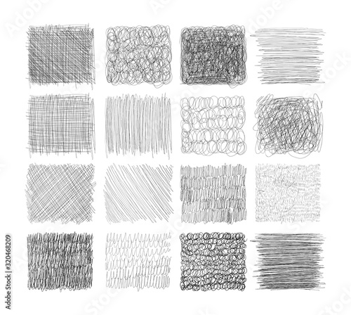 Fényképezés Set of grunge textures with pencil, pen