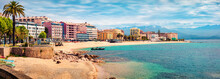 Panoramic Spring Cityscape Of Ajaccio Town. Splendid Morning Scene Of Corsica Island, France, Europe. Beautiful Mediterranean Seascape. Traveling Concept Background.
