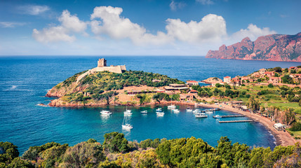 View from flying drone. Wonderful morning view of Port de Girolata - place, where you can't get by car. Perfect spring scene of Corsica island, France, Europe. Amazing Mediterranean seascape.