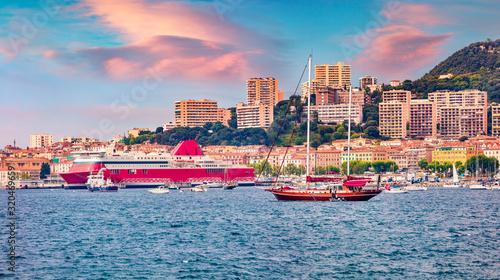 Fantastic summer sunrise on Ajaccio port Canvas Print