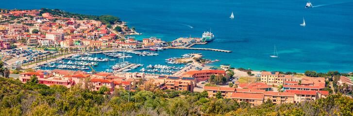 Panoramic spring cityscape of Palau port, Province of Olbia-Tempio, Italy, Eu...