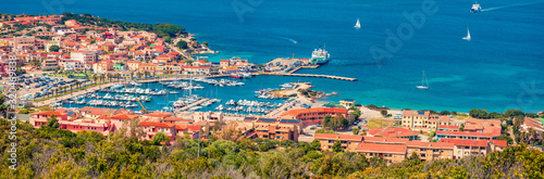Panoramic spring cityscape of Palau port, Province of Olbia-Tempio, Italy, Europe. Aerial morning scene of Sardinia island. Sunny mediterranean seascape. Traveling concept background. - 320469838