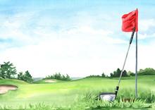 Golf Club With Ball And Flag O...