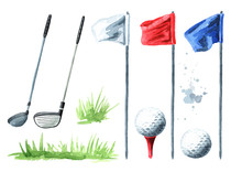 Golf Club, Flag And Ball Set. ...