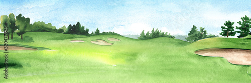 View of golf course with beautiful green field with a rich turf Canvas-taulu