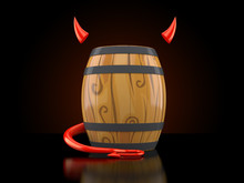 Wine Cask With Devil Horns And...