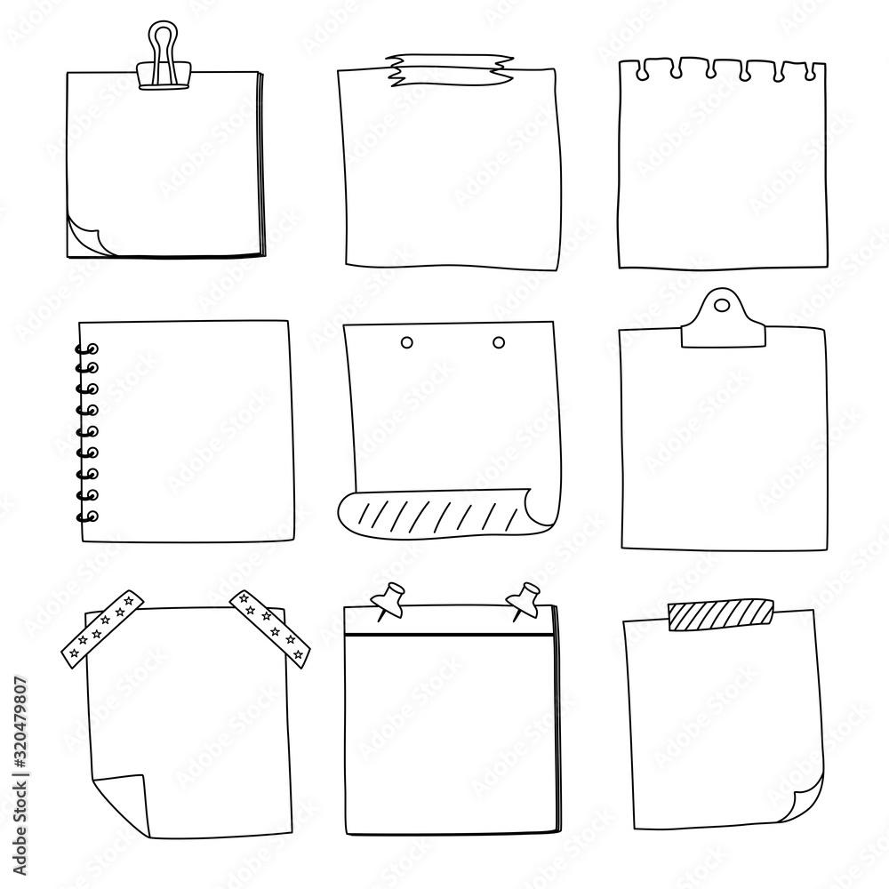 Fototapeta Hand drawn notepaper, doodle message sticky notes, vector/illustration