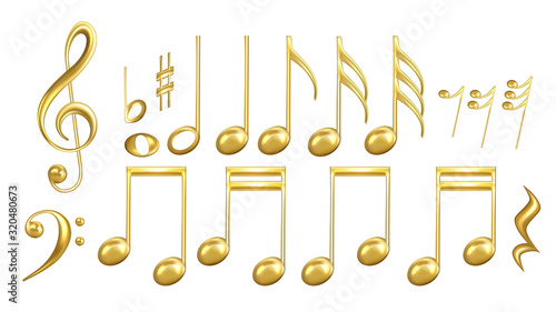 Fotografie, Obraz Musical Notes Symbols In Golden Color Set Vector