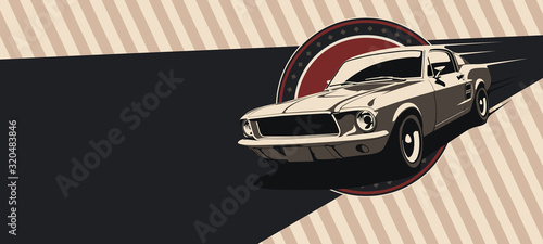 Classic muscle car in vector. Vintage style, solid colors. Wallpaper Mural