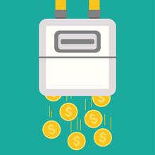 Gas Meter Icon Money Saving Concept Vector