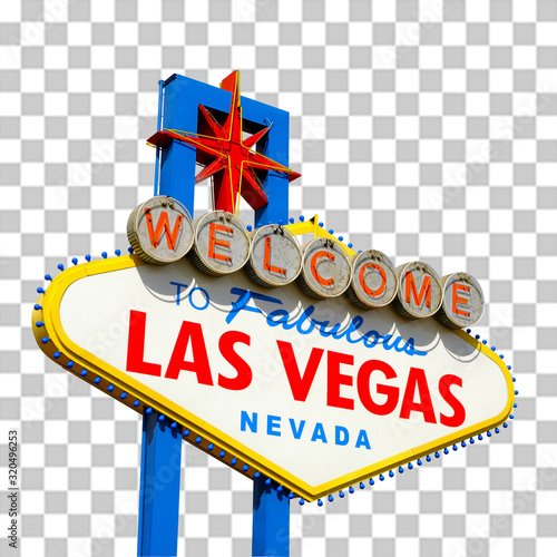 Photo Welcome to Las Vegas Sign isolated on checkered background including clipping pa