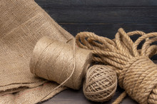Jute Rope And Spools Of Burlap Threads Or Twine