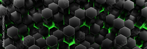Black background wall of honeycombs. Chaotic Cubes Wall Background. Panorama with high resolution wallpaper. 3d Render Illustration - 320498862