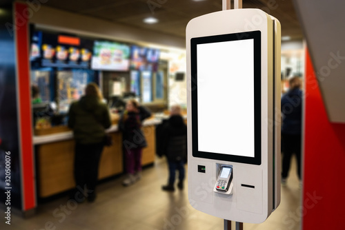 Valokuvatapetti Self-service desk with touch screen in fast food restaurant