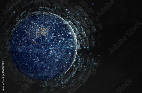 Fotomural Global datas exchanges and connections system over the globe 3D rendering elemen