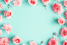 Flowers Composition. Rose Flowers On Blue Background. Valentines Day, Mothers Day, Womens Day Concept. Flat Lay, Top View, Copy Space