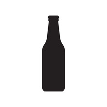 Beer Bottle Icon. Alcohol Drink Silhouette. Vector Illustration.