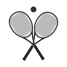 Crossed Tennis Rackets With Te...