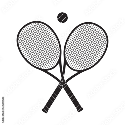 Fotografie, Tablou Crossed tennis rackets with tennis ball. Vector illustration.