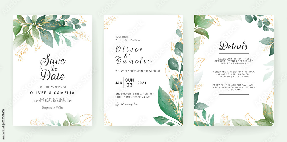 Fototapeta Wedding invitation card template set with leaves border. Flowers decoration for save the date, greeting, poster, cover, etc. Botanic illustration vector