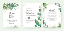 Wedding Invitation Card Template Set With Leaves Border. Flowers Decoration For Save The Date, Greeting, Poster, Cover, Etc. Botanic Illustration Vector