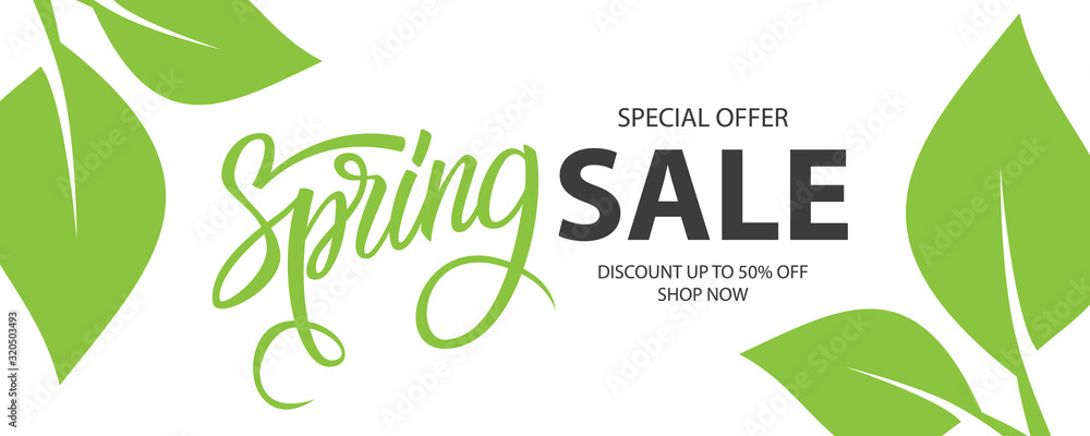 Fototapeta Spring Sale special offer banner. Springtime season background with hand lettering and spring green leaves for business, seasonal shopping, promotion and advertising. Vector illustration.