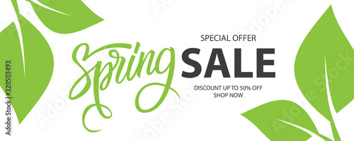 Spring Sale special offer banner. Springtime season background with hand lettering and spring green leaves for business, seasonal shopping, promotion and advertising. Vector illustration.