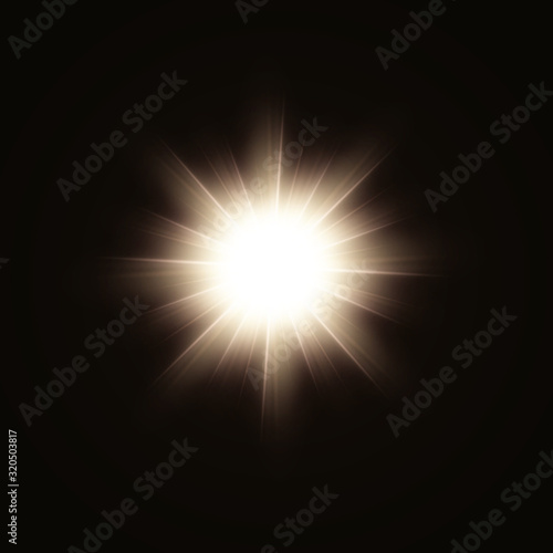 Cuadros en Lienzo Sunlight or lens flare glowing light from a camera shooting burst of a star