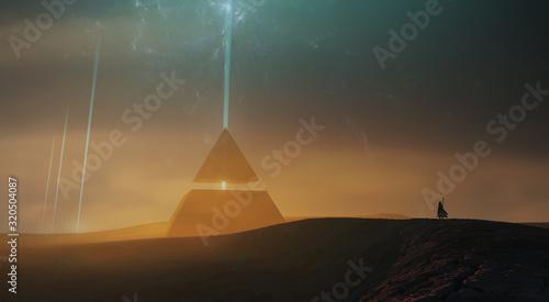 Photo surreal sci fi landscape, magical pyramid in desert landscape 3d illustration