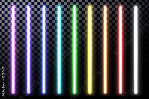 Fotografia, Obraz Glowing neon sticks. Fluorescent beams of laser light.