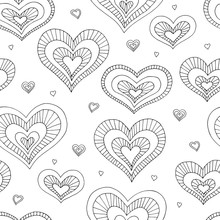 Heart Graphic Doodle Black White Color Seamless Pattern Background Illustration Vector