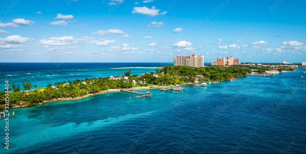 Fototapeta Panoramic landscape view of Paradise Island, Nassau, Bahamas.