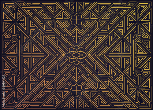 Papel de parede Vector abstract golden background with arabic motifs