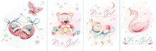 Baby Shower Watercolor Girl Design Elements. Set Of Baby Pink Birthday Illustration. Newborn Party Invitation