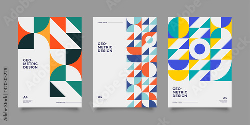 Placard templates set with Geometric shapes, Retro bauhaus swiss style flat and line design elements Wallpaper Mural