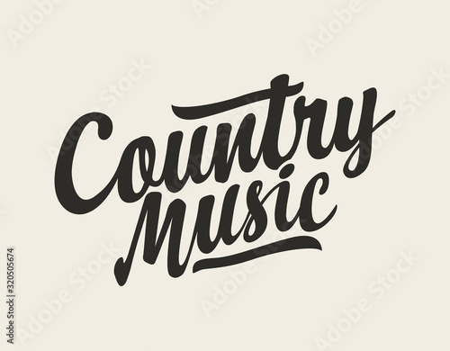 Obraz Calligraphic inscription Country music. Vector logo, emblem, label, badge or design element isolated on white background. Creative lettering for t-shirt design in modern style - fototapety do salonu