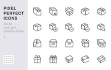 Box Line Icon Set. Carton, Cardboard Boxes, Product Package, Gift, Parcel Minimal Vector Illustrations. Simple Outline Signs For Delivery Service Application. 30x30 Pixel Perfect. Editable Strokes