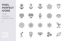 Flower Line Icon Set. Rose, Tulip In Vase, Fruit Bouquet, Spring Blossom, Cactus Minimal Vector Illustration Simple Outline Signs For Flowers Delivery Application. 30x30 Pixel Perfect. Editable Stroke