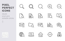 Search Line Icons Set. Zoom, F...