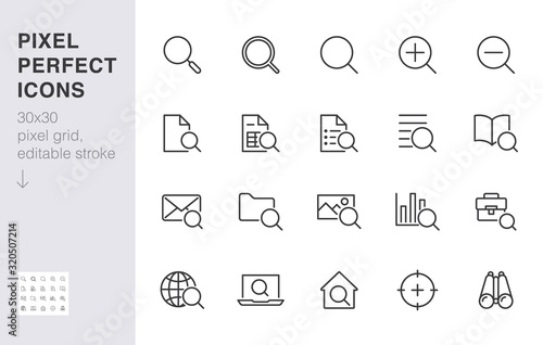 Search line icons set Canvas Print