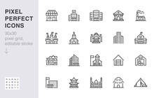 City Building Line Icons Set. ...