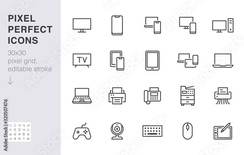 Obraz Devices line icons set. Computer, laptop, mobile phone, fax, scanner, smartphone minimal vector illustrations. Simple flat outline sign for web, technology app. 30x30 Pixel Perfect. Editable Strokes - fototapety do salonu